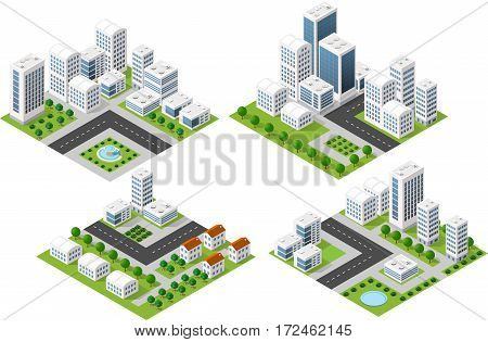 Set 3d isometric three-dimensional city with houses skyscrapers buildings and streets with traffic. Top view of urban infrastructure for the creation and design.