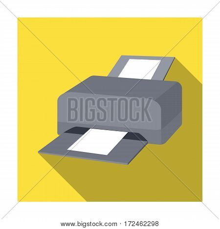 Printer icon in flat design isolated on white background. Personal computer accessories symbol stock vector illustration.