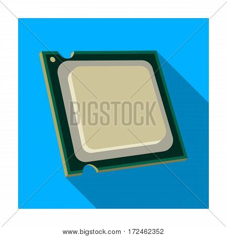 Central processing unit icon in flat design isolated on white background. Personal computer accessories symbol stock vector illustration.