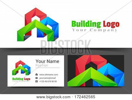 Real Estate Building Corporate Logo and Business Card Sign Template. Creative Design with Colorful Logotype Visual Identity Composition Made of Multicolored Element. Vector Illustration.