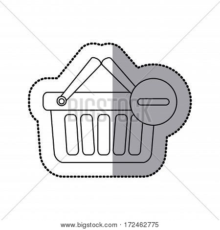 sticker silhouette with shopping basket with two handle and minus sign vector illustration