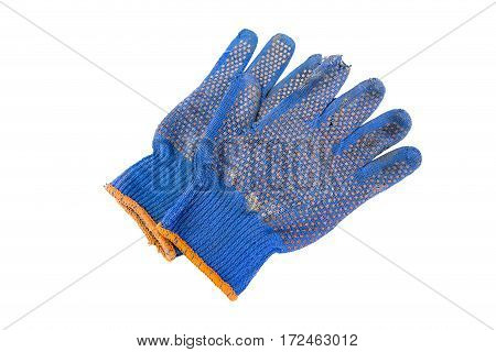 a pair of blue gloves tattered blue