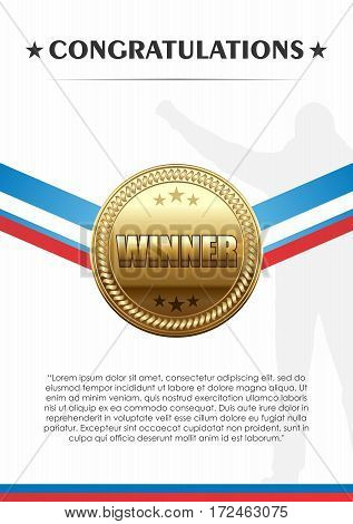 Vector Champion Trophies of Gold Medal with Ribbon Congratulation Banner Template