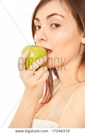 Beautiflul Woman With Green Apple
