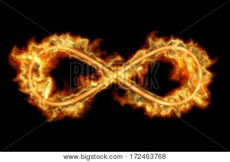 Fiery infinity sign emits flames on a black background. 3D rendering.