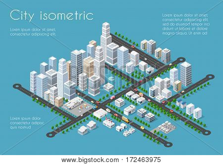 Transportation 3D city streets intersection with houses and trees. Isometric view from above on a city transport