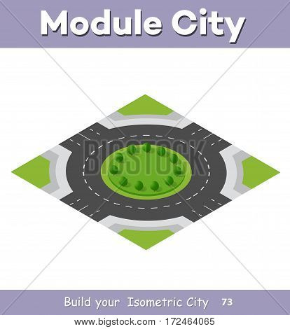 Transportation City streets intersection with trees. Isometric view from above on a city