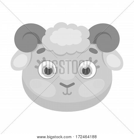 Ram muzzle icon in monochrome design isolated on white background. Animal muzzle symbol stock vector illustration.