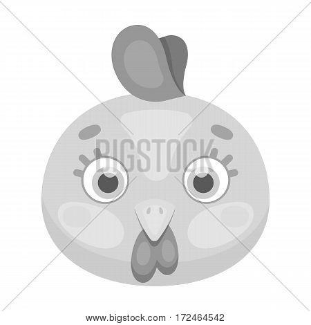 Hen muzzle icon in monochrome design isolated on white background. Animal muzzle symbol stock vector illustration.