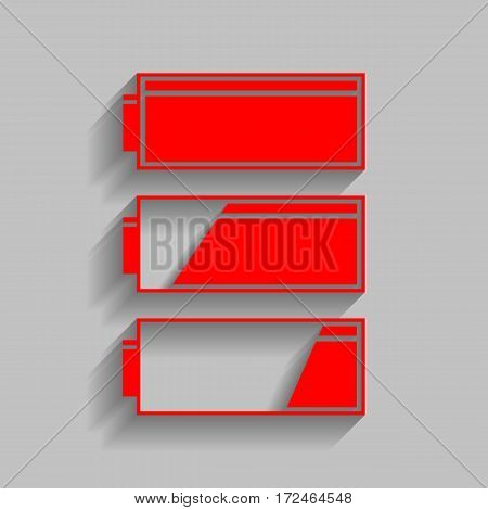 Set of battery charge level indicators. Vector. Red icon with soft shadow on gray background.
