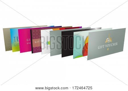 range of graphic design templates for gift vouchers as a 3d render