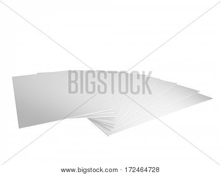 3d render of plain a6 or a5 leaflets or postcards on a hwite background