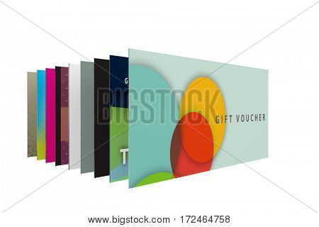 3d render of a set of designs for gift vouchers
