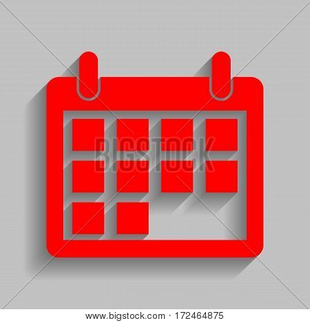 Calendar sign illustration. Vector. Red icon with soft shadow on gray background.