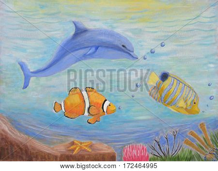 underwater with dolphin clown and angel fishes   painting