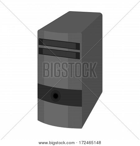 Computer case icon in monochrome design isolated on white background. Personal computer accessories symbol stock vector illustration.