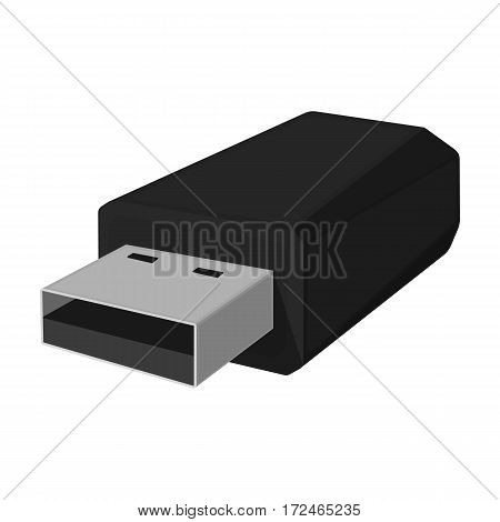 USB flash drive icon in monochrome design isolated on white background. Personal computer accessories symbol stock vector illustration.