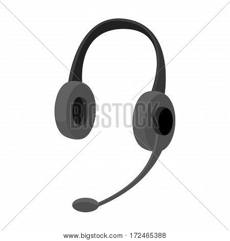 Headphones icon in monochrome design isolated on white background. Personal computer accessories symbol stock vector illustration.