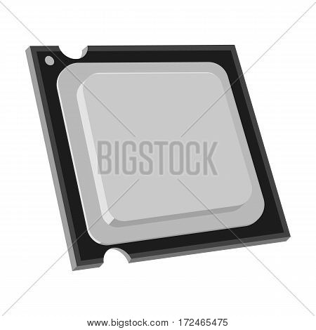 Central processing unit icon in monochrome design isolated on white background. Personal computer accessories symbol stock vector illustration.