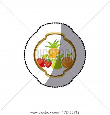 sticker colorful silhouette rounded heraldic border with still life fruits vector illustration