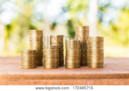 Money coin stack growing graph with nature background