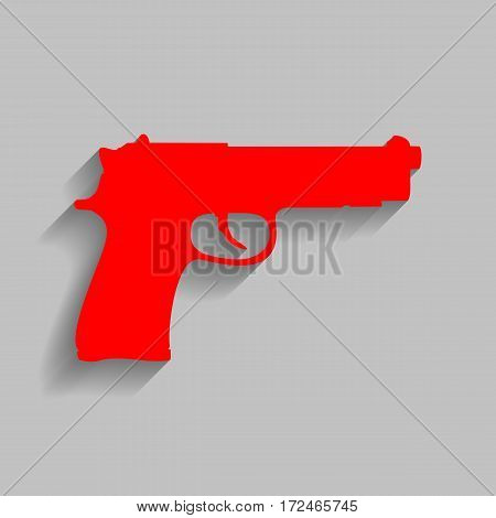 Gun sign illustration. Vector. Red icon with soft shadow on gray background.
