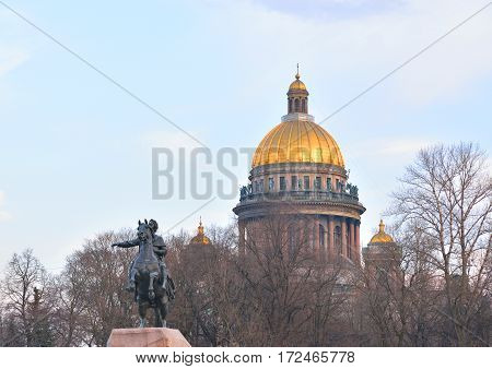 View of Saint Isaac Cathedral in St.Petersburg Russia.