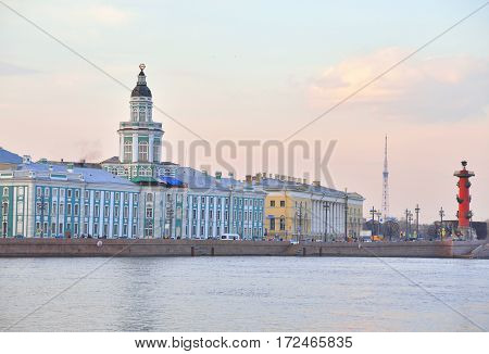 Cabinet of curiosities building and Neva River at sunset in St.Petersburg Russia.
