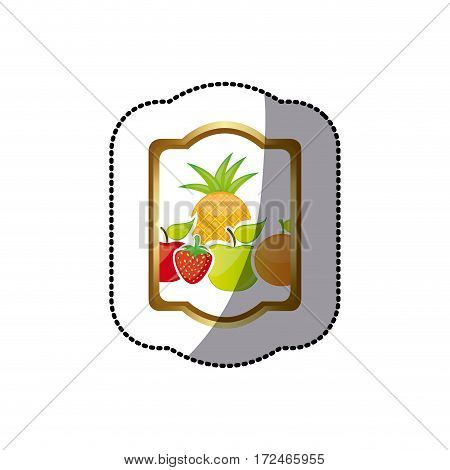 sticker colorful silhouette rectangle heraldic border with still life fruits vector illustration