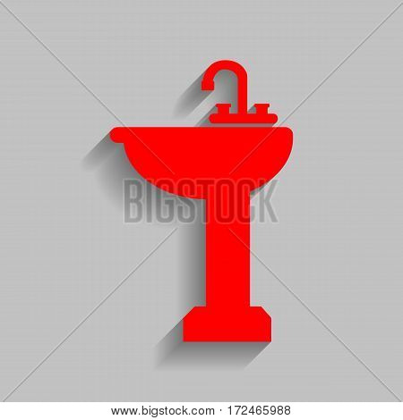 Bathroom sink sign. Vector. Red icon with soft shadow on gray background.