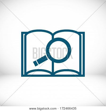 open book and search icon stock vector illustration flat design