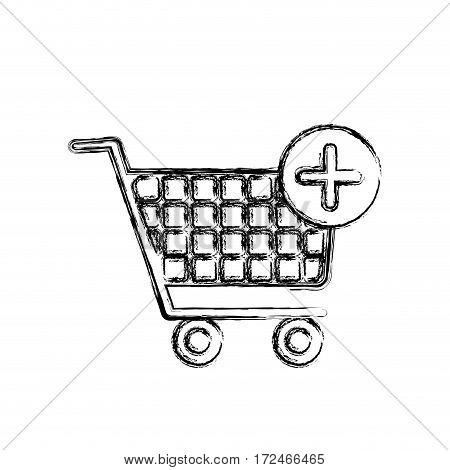 blurred silhouette shopping cart and plus sign vector illustration