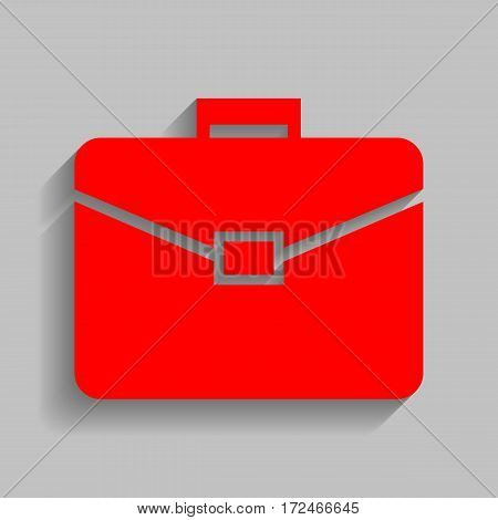 Briefcase sign illustration. Vector. Red icon with soft shadow on gray background.