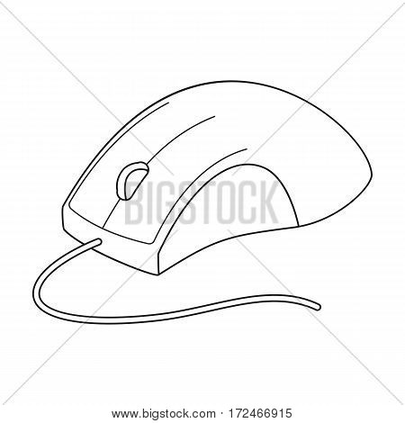 Computer mouse icon in outline design isolated on white background. Personal computer accessories symbol stock vector illustration.
