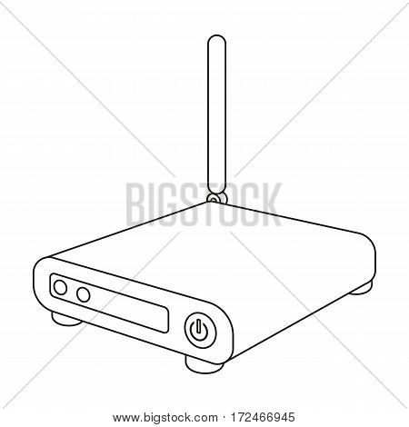 Router icon in outline design isolated on white background. Personal computer accessories symbol stock vector illustration.