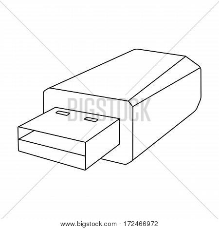 USB flash drive icon in outline design isolated on white background. Personal computer accessories symbol stock vector illustration.