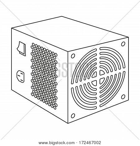 Power supply unit icon in outline design isolated on white background. Personal computer accessories symbol stock vector illustration.