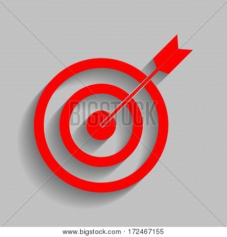 Target with dart. Vector. Red icon with soft shadow on gray background.