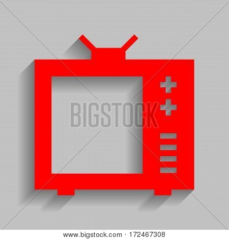 TV sign illustration. Vector. Red icon with soft shadow on gray background.