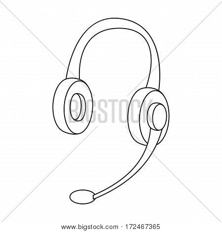 Headphones icon in outline design isolated on white background. Personal computer accessories symbol stock vector illustration.