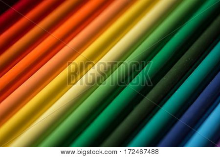 Color pencils showing a range of vibrant colors