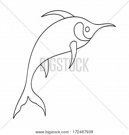 Marlin fish icon in outline design isolated on white background. Sea animals symbol stock vector illustration.