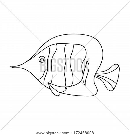 Angel fish icon in outline design isolated on white background. Sea animals symbol stock vector illustration.