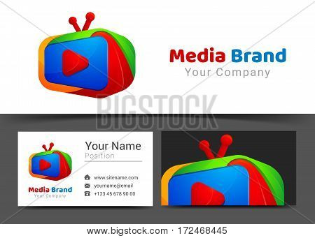 Education Media Television Channel Corporate Logo and Business Card Sign Template. Creative Design with Colorful Logotype Visual Identity Composition Made of Multicolored Element. Vector Illustration.