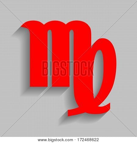 Virgo sign illustration. Vector. Red icon with soft shadow on gray background.