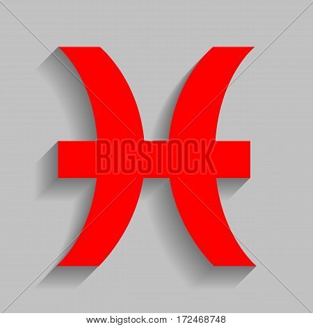 Pisces sign illustration. Vector. Red icon with soft shadow on gray background.
