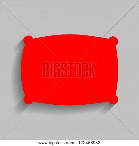Pillow sign illustration. Vector. Red icon with soft shadow on gray background.