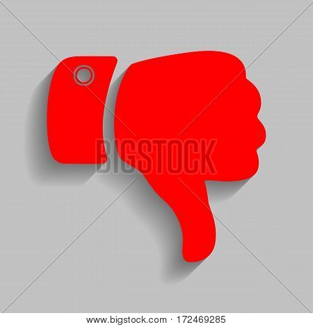 Hand sign illustration. Vector. Red icon with soft shadow on gray background.