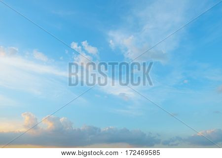 Blue Sky With Cloud, Retro And Vintage Theme Background