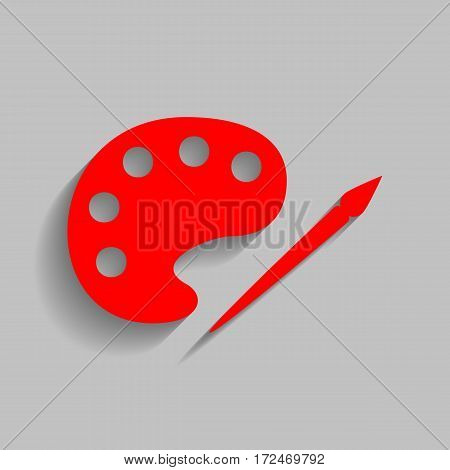 Palette and paint brush sign. Vector. Red icon with soft shadow on gray background.